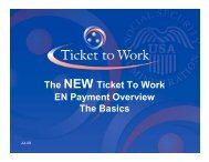 The NEW Ticket To Work EN Payment Overview The Basics
