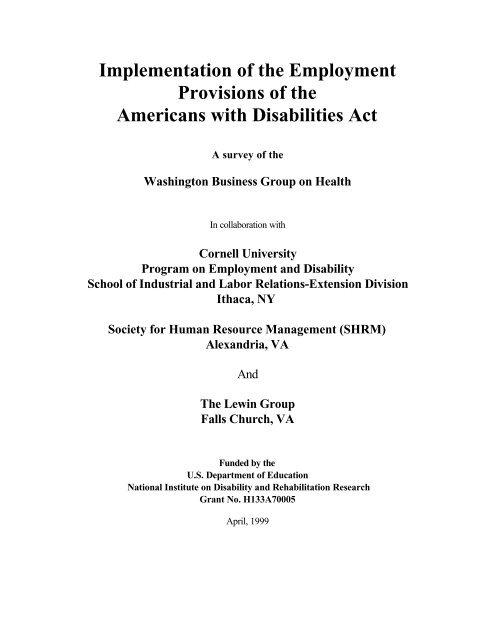 WBGH Longer REPORT (4-16-99) - Cornell University School of ...