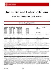 Industrial and Labor Relations - Cornell University School of ...