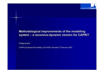 Methodological improvements of the modelling system – a recursive ...