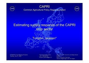 Estimating supply response of the CAPRI crop sector CAPRI