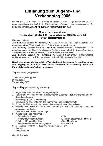 Einladung zum Jugend- und Verbandstag 2005 - Basketballverband ...