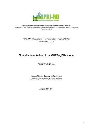 Final documentation of the CGERegEU+ model