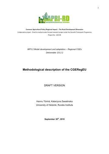 Methodological description of the CGERegEU
