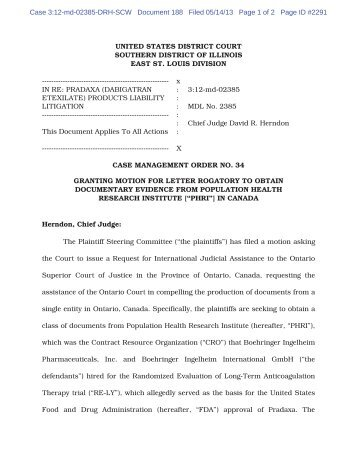 Depositions, Letter Rogatory, and Production of ... - Foley.com