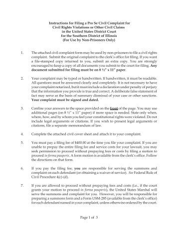Prisoner Complaint Package-Instructions And Forms For Filing A