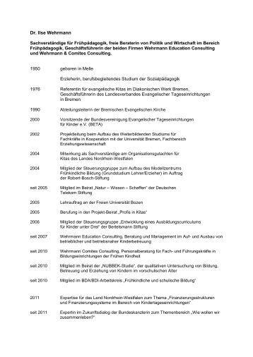 tabellarischen lebenslauf von ilse wehrmann pdf datei 31 kb - Schriftgre Lebenslauf