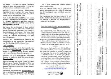 Anmeldung zur Gemeindefreizeit vom 16.-20.02.2007 im Kloster ...