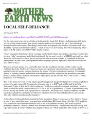 Mother Earth News Magazine - Institute for Local Self-Reliance