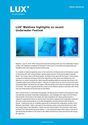 LUX* Maldives highlights on recent Underwater ... - LUX* Resorts