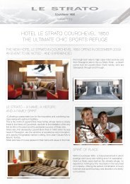 HOTEL LE STRATO COuRCHEvEL 1850 THE uLTIMATE CHIC ...