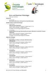 Übersichtsplan Kurs und Seminar Histologie WS 2013/14
