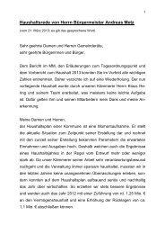 Haushaltsrede von Herrn Bürgermeister Andreas Metz - Ilvesheim