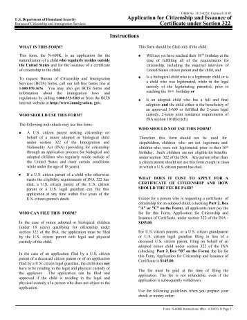 Instructions N 600 Application For Certificate Of Citizenship La