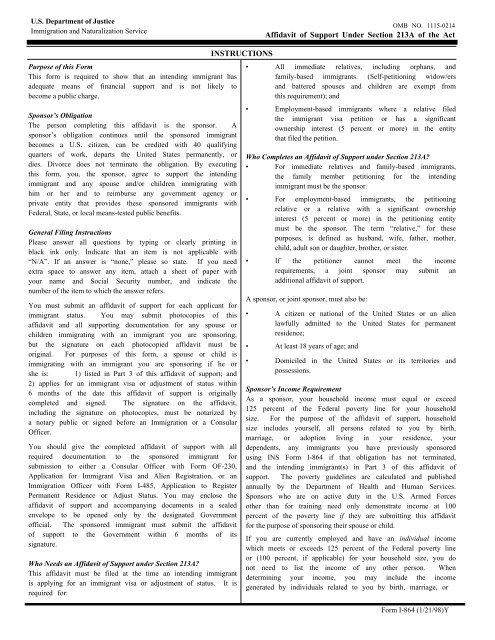I-864, Affidavit of Support - ILW com