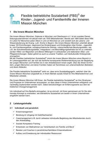 Flexible betriebliche Sozialarbeit - Innere Mission München