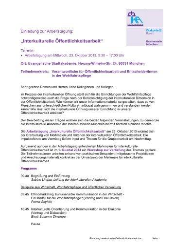 Einladung und Programm - Innere Mission München