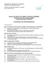 Seminarankündigung - Lehrstuhl für Controlling - Technische ...