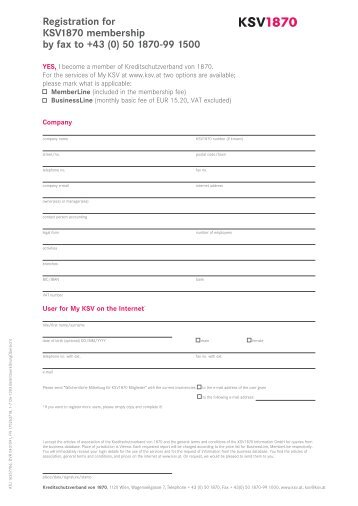 Registration for KSV1870 membership by fax to +43 (0) 50 1870-99 ...