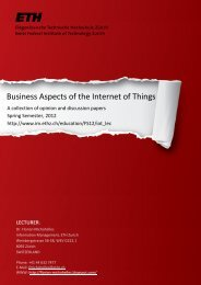 Business Aspects of the Internet of Things - Information Management