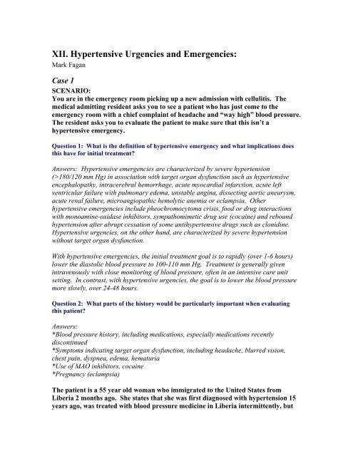 XII  Hypertensive Urgencies and Emergencies: