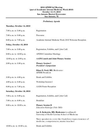 Agenda for 2010 APDIM Fall Meeting - Alliance for Academic ...