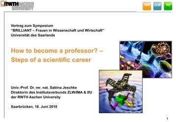 How to become… - IMA,ZLW & IfU - RWTH Aachen University