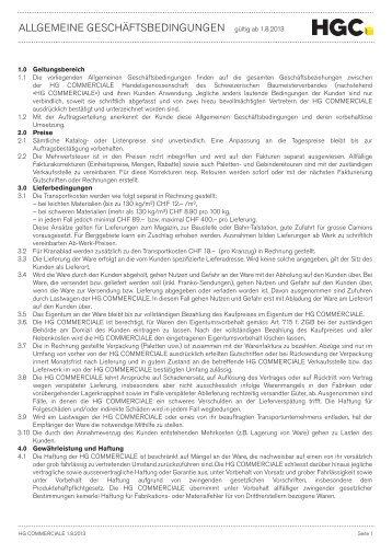 Allgemeine Geschäftsbedinungen 2013 (PDF ... - HG Commerciale