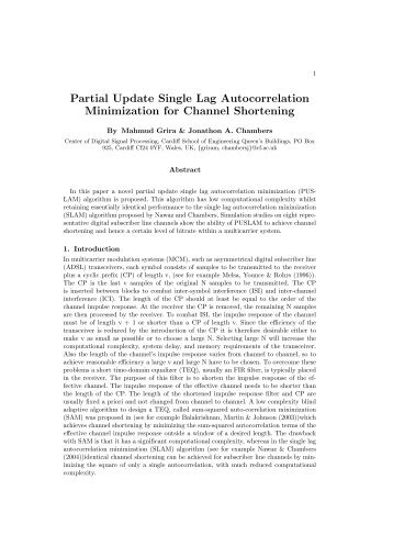 Partial Update Single Lag Autocorrelation Minimization for Channel ...