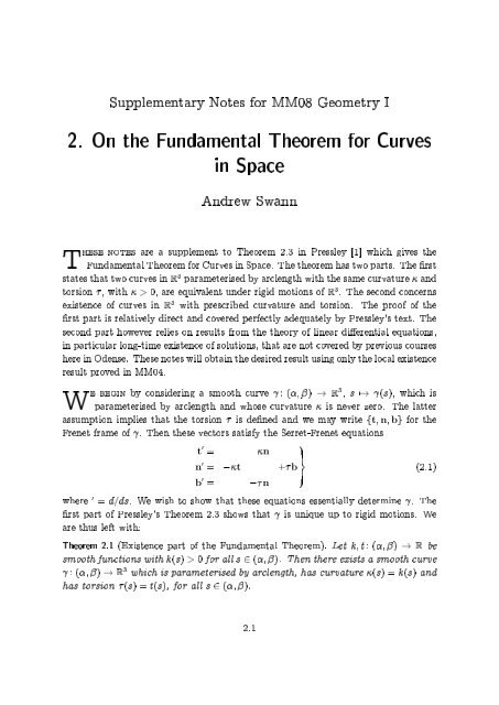 2. On the Fundamental Theorem for Curves in Space
