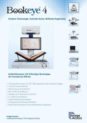 Aufsichtscanner mit V-förmiger Buchwippe für Formate bis DIN A2 ...
