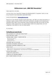 """Willkommen zum """"IBM DB2 Newsletter"""" Inhaltsverzeichnis"""