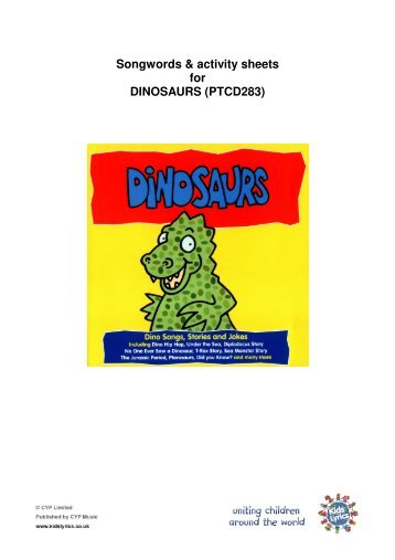 Songwords & activity sheets for DINOSAURS (PTCD283)