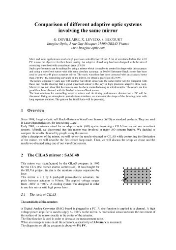 Comparison of different close loops involving the ... - Imagine Optic