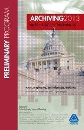 Archiving 2013 Preliminary Program - Society for Imaging Science ...