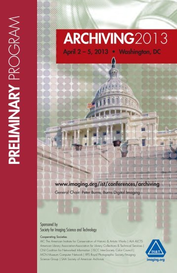 Archiving 2013 Preliminary Program - Society for Imaging Science ...