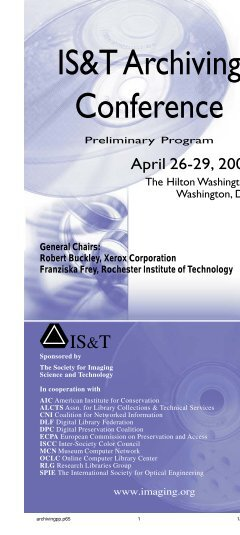 IS&T Archiving Conference ram - Society for Imaging Science and ...
