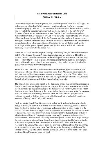 The Divine Roots of Human Love William C. Chittick ... - ImagoMundi