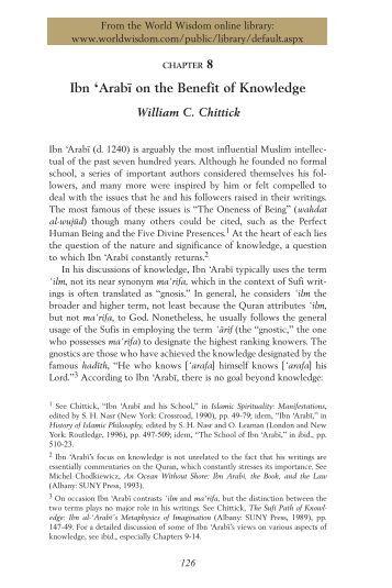 """Ibn 'Arabī on the Benefit of Knowledge"" by William C ... - ImagoMundi"