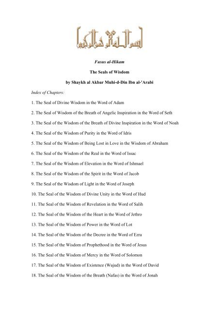 Fusus al-Hikam The Seals of Wisdom by Shaykh al ... - ImagoMundi