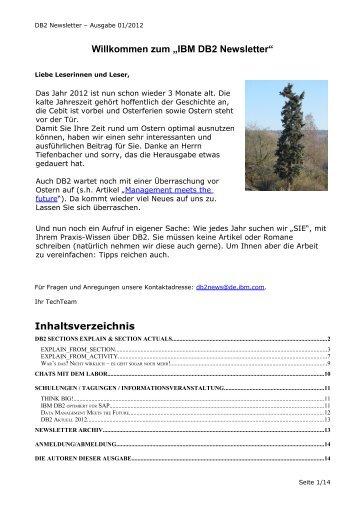 """Willkommen zum """"IBM DB2 Newsletter"""" -  CURSOR Distribution"""