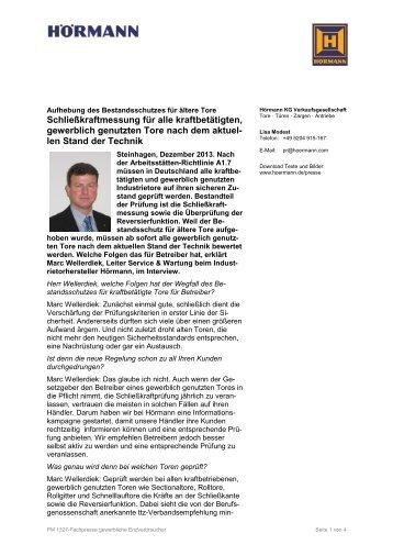 Fragebogen zur Abfrage Nr - Hörmann KG