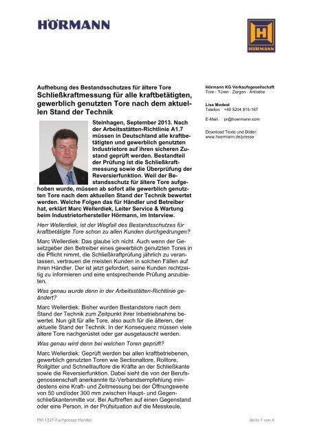 Schließkraftmessung für alle kraftbetätigten ... - Hörmann KG