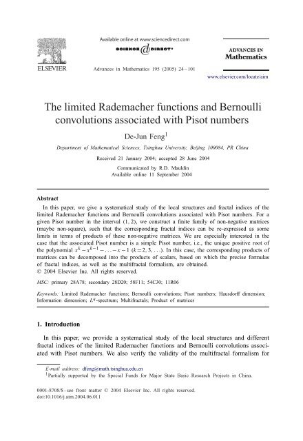The limited Rademacher functions and Bernoulli convolutions ...