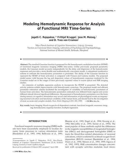 Modeling hemodynamic response for analysis of functional MRI time ...