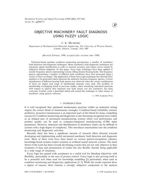 Objective Machinery Fault Diagnosis Using Fuzzy Logic