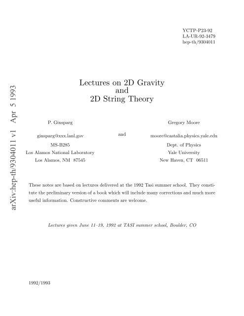 arXiv:hep-th/9304011 v1 Apr 5 1993
