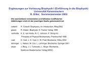 Ergänzungen zur Vorlesung Biophysik I (Einführung in die Biophysik ...