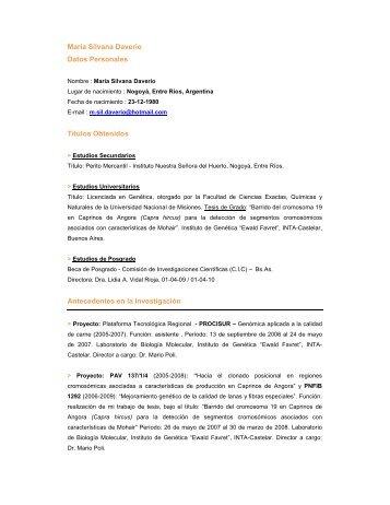 María Silvana Daverio Datos Personales Títulos Obtenidos ...