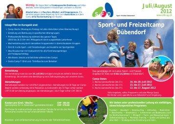 Juli/August Sport- und Freizeitcamp Dübendorf - SFD AG